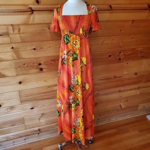 1960s Young Hawaii Honolulu Orange Floral Maxi Dre